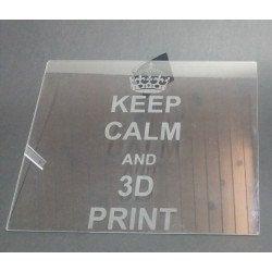 Laser engraved plain glass print bed for 3D printer - Keep calm and 3D print