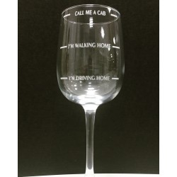 Laser engraved wine glass - Call me a cab